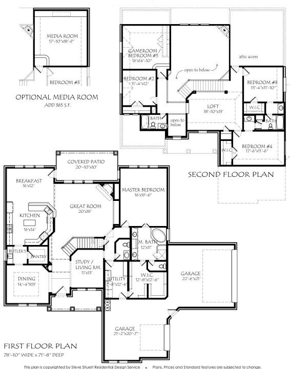Texas house plans for 4 bedroom loft floor plans