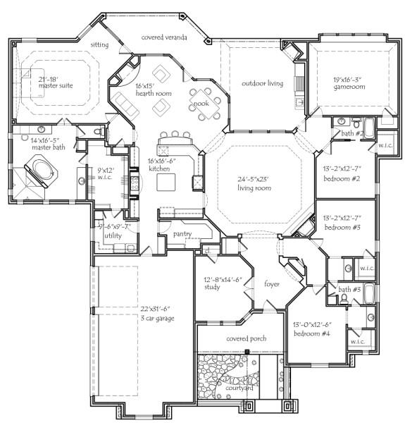 Texas house plans for House plans with big kitchens and hearth rooms